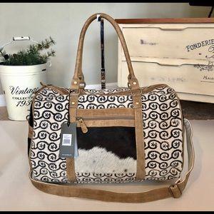 Handbags - Vintage style Medium duffel bag travel Leather Fur